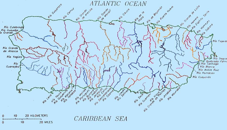 mapa hidrográfico de Puerto Rico